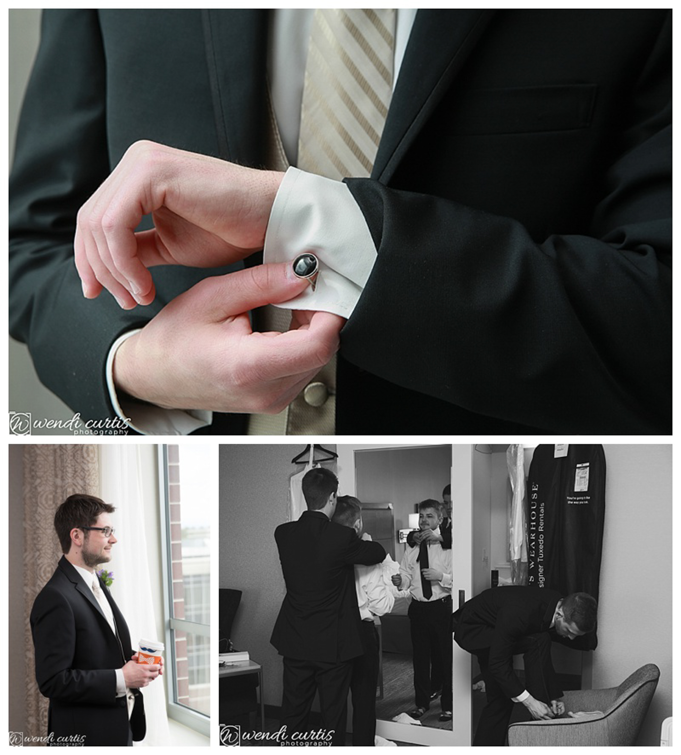 groom having coffee and getting ready