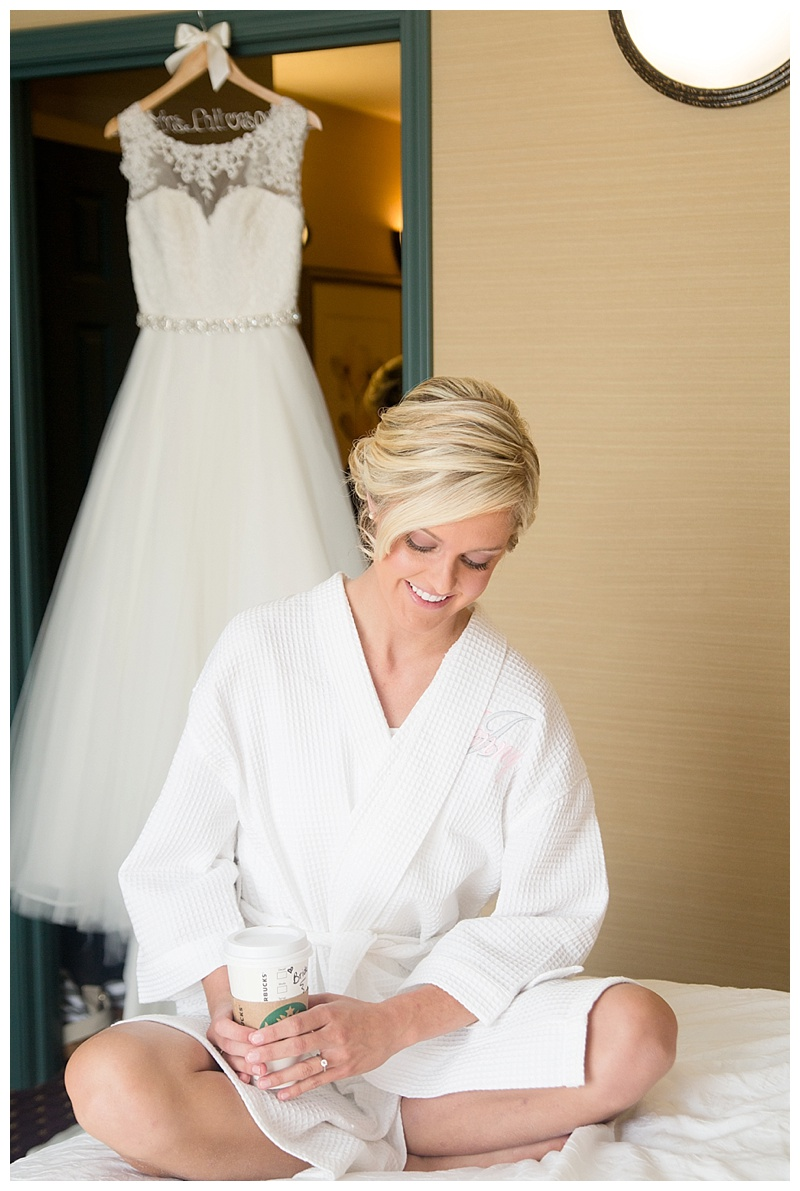 Bride in bathrobe with coffee