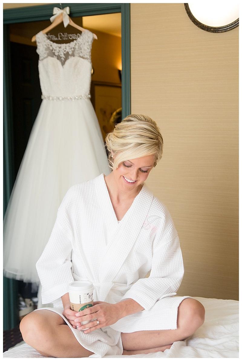 Bride in bathrobe with coffee